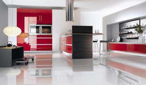 cozinha decorada com vermelho